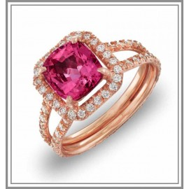 Pink Sapphire Diamond Ring in 18kt Rose Gold
